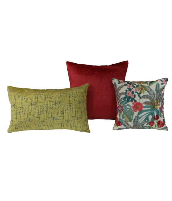 Isoline 3 pc Pillow Set  - Fuchsia