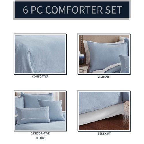 Chambray Blue 6 pc Queen Comf. Cover Set