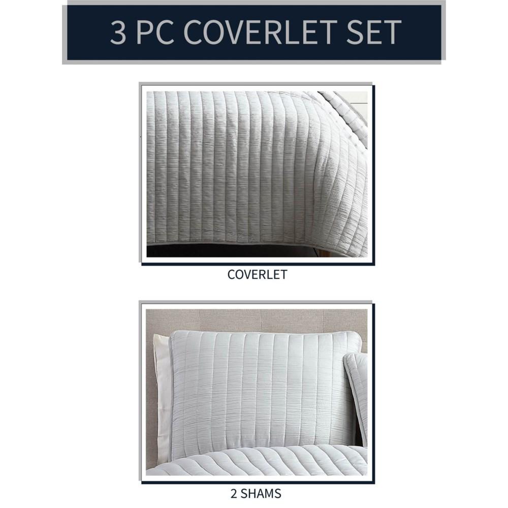 Mansfield 3PC F/Q Light Gray Crinkle Coverlet
