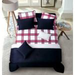 Ellery Navy Gray Red 8pc Full/Queen Layered Comforter & Coverlet Set