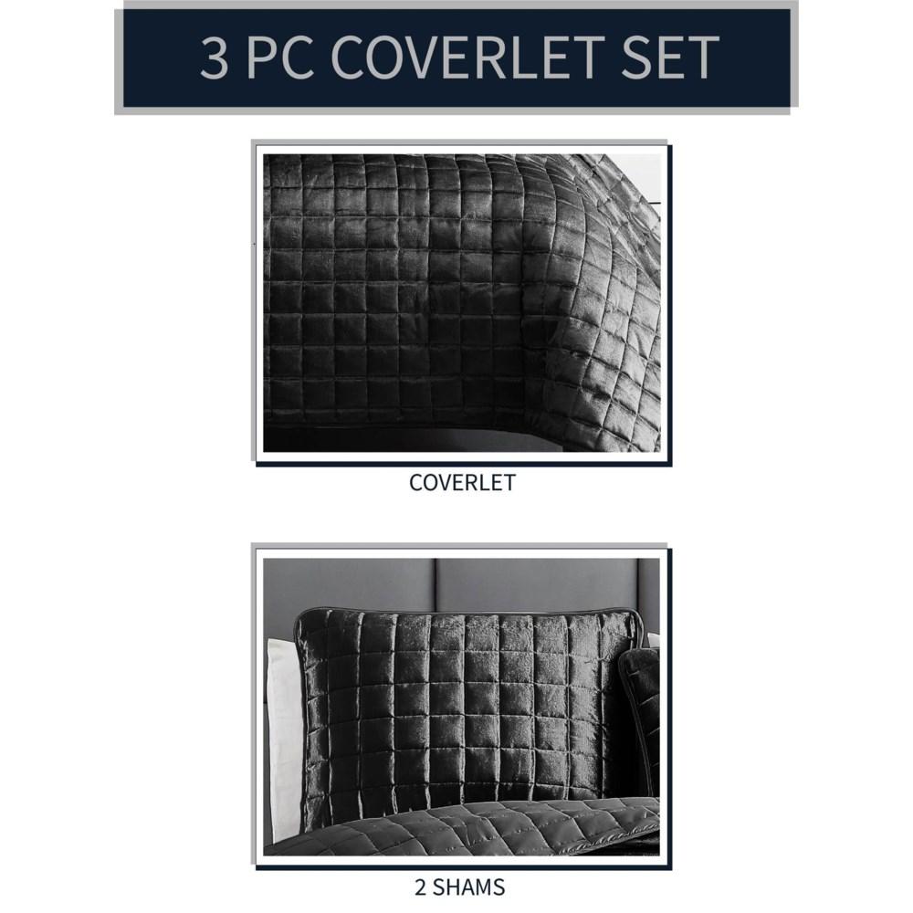 Luxe 3PC F/Q Graphite Velvet Coverlet
