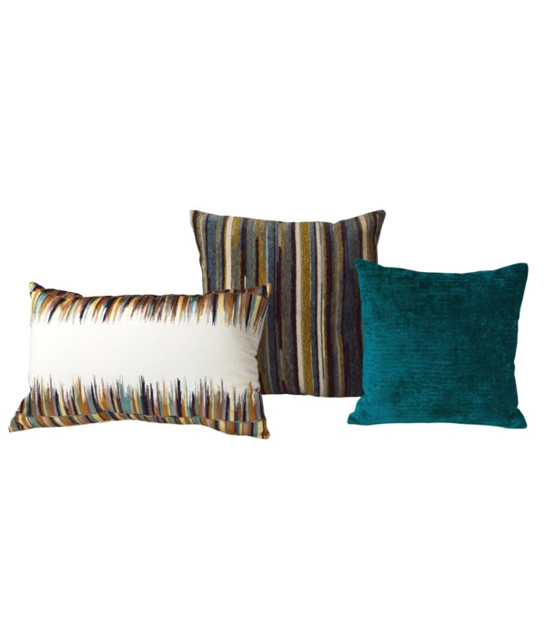Alidade 3 pc Pillow Set  - Teal Multi