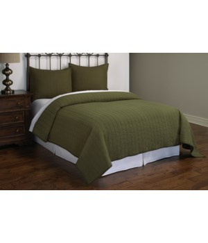 Ashton Green Herringbone Stitch 2 piece Quilt Set Twin