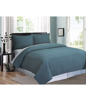 Ashton Teal Herringbone Stitch 2 piece Quilt Set Twin