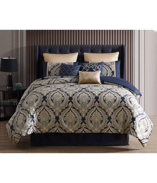 Bevan 9 pc Queen Comforter Set  Navy