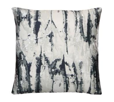 Blue Aqua Watermarble  18x18 Pillow Silver Metallic