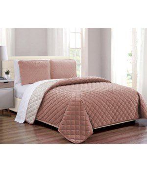 Velvet Coverlet Blush 3 piece Full/QN Set
