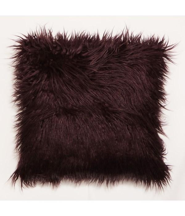Mongolian Faux Fur Throw Aubergine