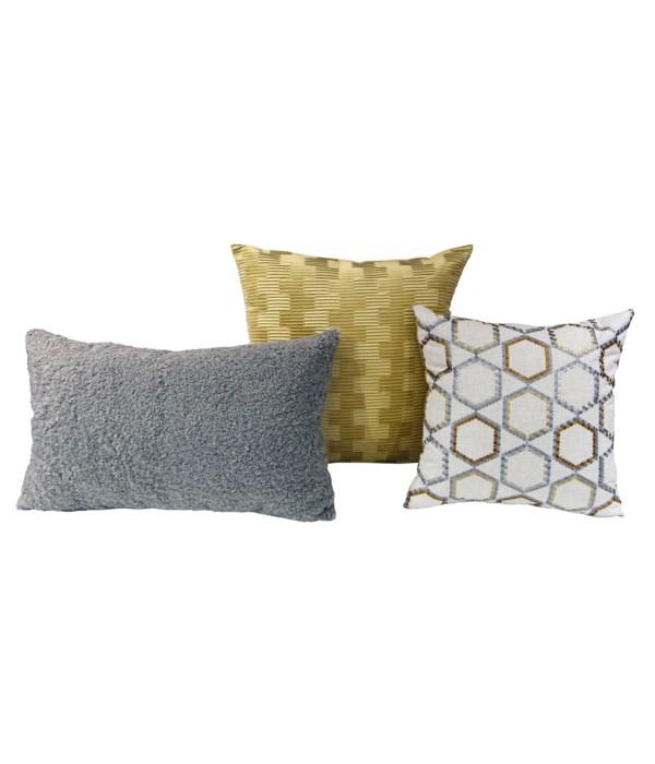 Cadastral 3 pc Pillow Set  - Copper