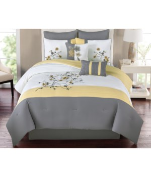 Catherine Yellow 8pc Queen Comforter Set