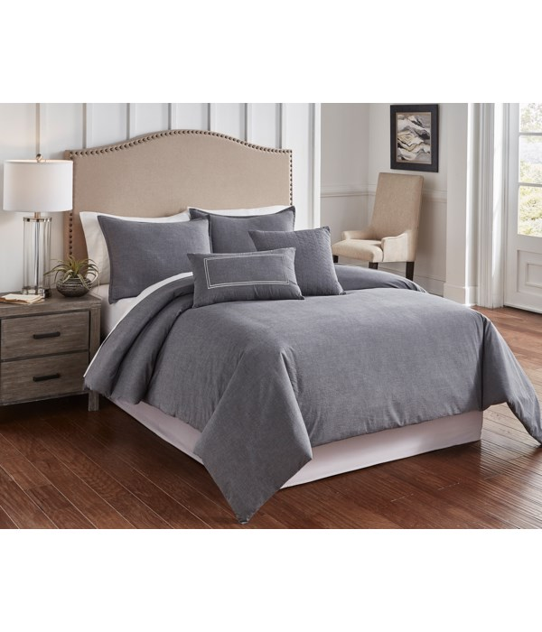 Chambray Charcoal 6 pc Queen Comf. Cover Set