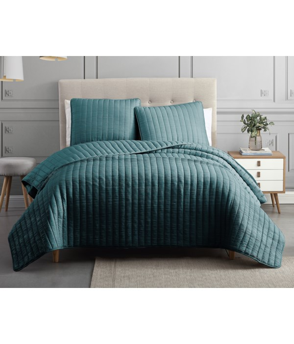 Mansfield 3PC F/Q Teal Crinkle Coverlet