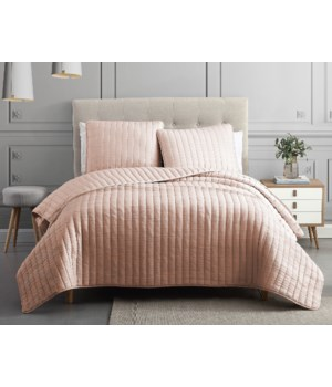 Mansfield 3PC F/Q Blush Crinkle Coverlet