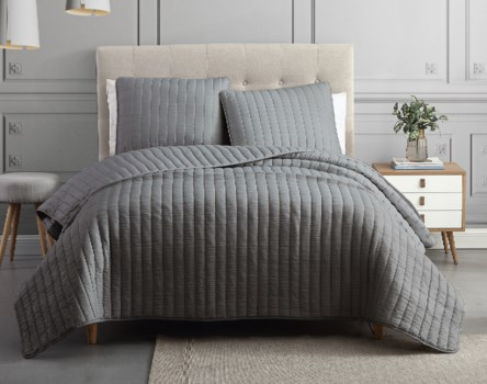 Mansfield 3PC F/Q Charcoal Crinkle Coverlet