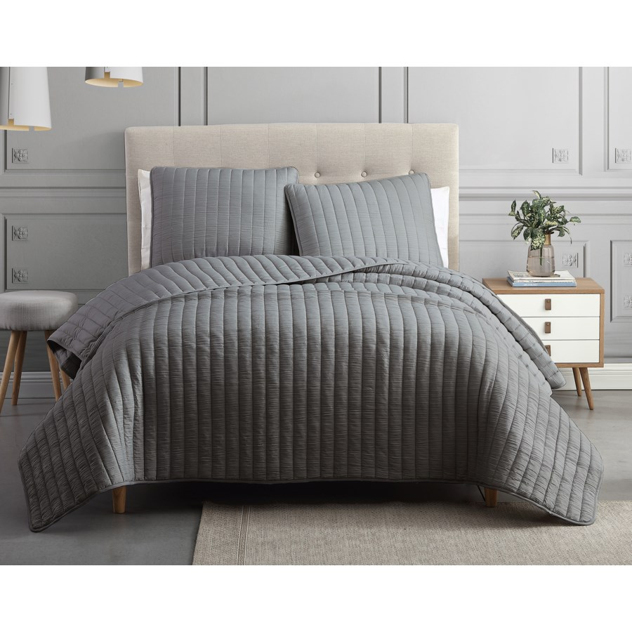 Mansfield 3PC F/Q Dark Gray Crinkle Coverlet