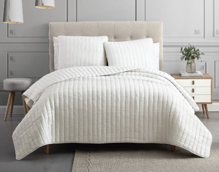 Mansfield 3PC F/Q Ivory Crinkle Coverlet