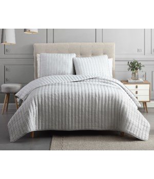 Mansfield 3PC F/Q Light Gray Crinkle Coverlet