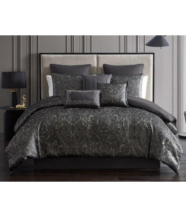 Dexton 9 pc Queen Comforter Set  Tan/Black