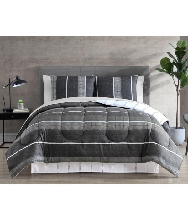 Diamond Stripe 8 pc Queen Comforter Set