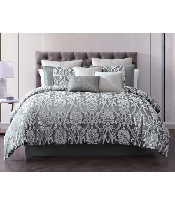 Domauri 9 pc Queen Comforter Set  Gray