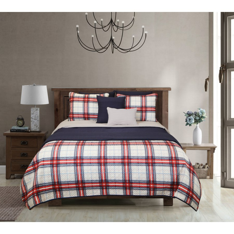 Ellery Navy Gray Red 8pc Full/Queen Layered Comforter & Coverlet Set