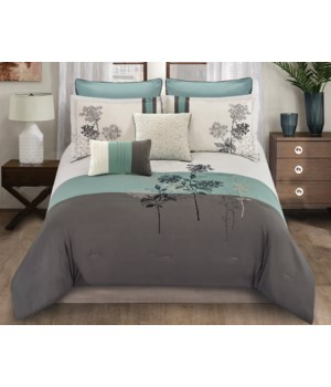 Evelyn Leaf 8pc Queen Comforter Set