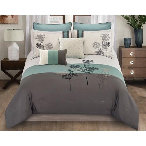Evelyn Leaf 8pc Queen Comforter Set