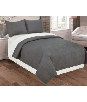 Felix 3pc Quilt Set Queen - Graphite