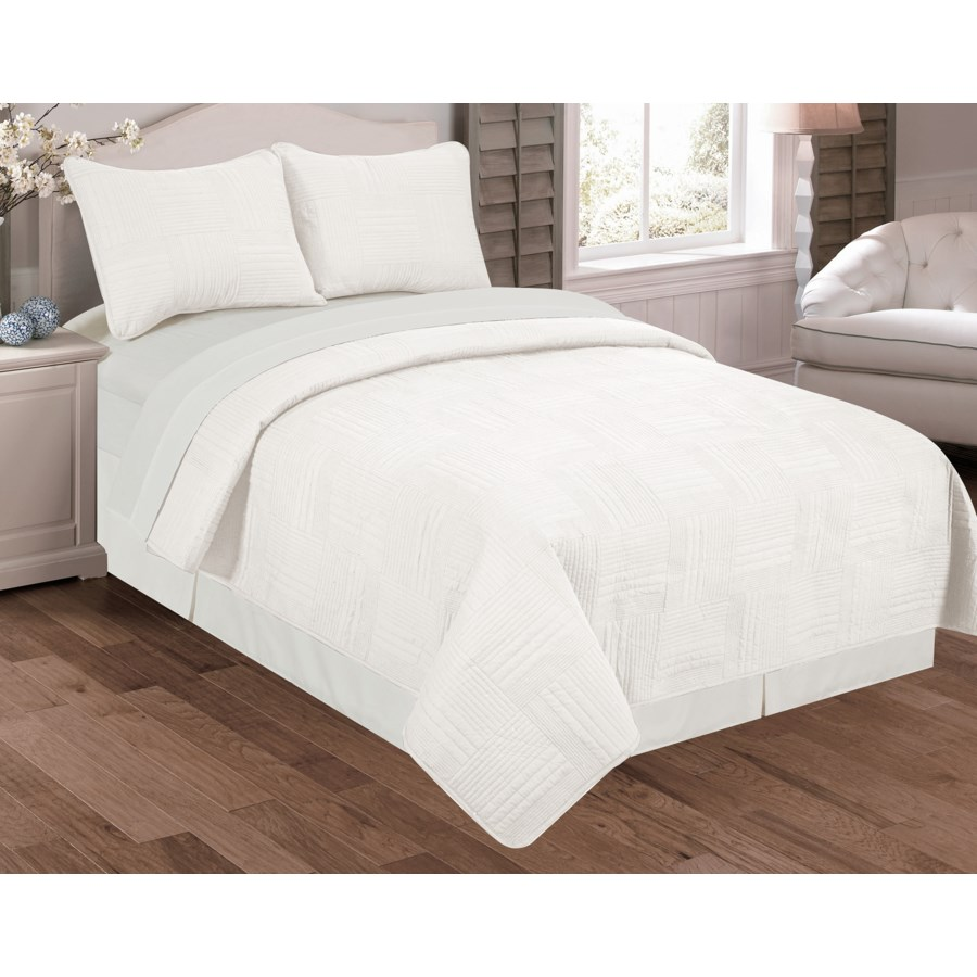 Felix 3pc Quilt Set White Queen