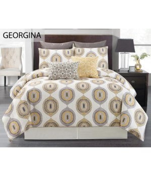 Georgina Mustard 6 pc Queen Comf. Cover Set