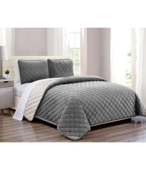 Velvet Coverlet Gray 3 piece Full/QN Set