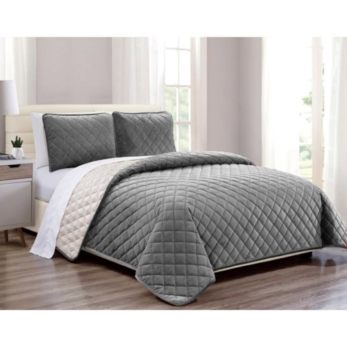Velvet Coverlet Gray 2 piece Twin Set