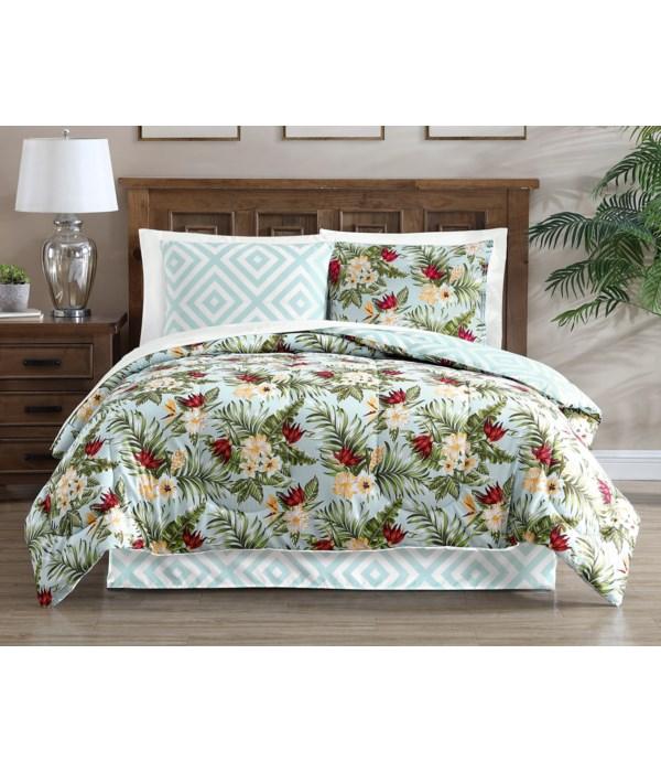 Hibiscus Azure 8 pc Queen Comforter Set