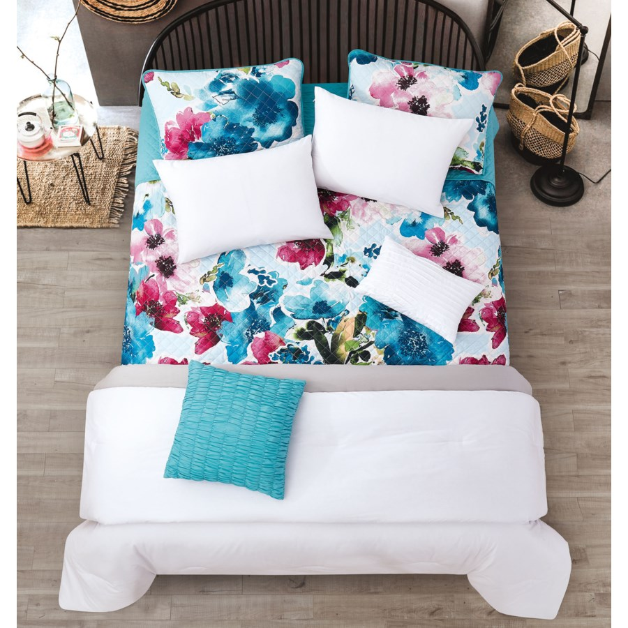 Jules White Gray Teal 6pc Twin Layered Solid Comforter & Coverlet Set