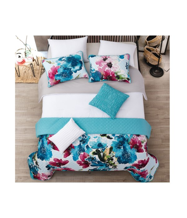 Jules White Gray Teal 8pc Full/Queen Layered Solid Comforter & Coverlet Set