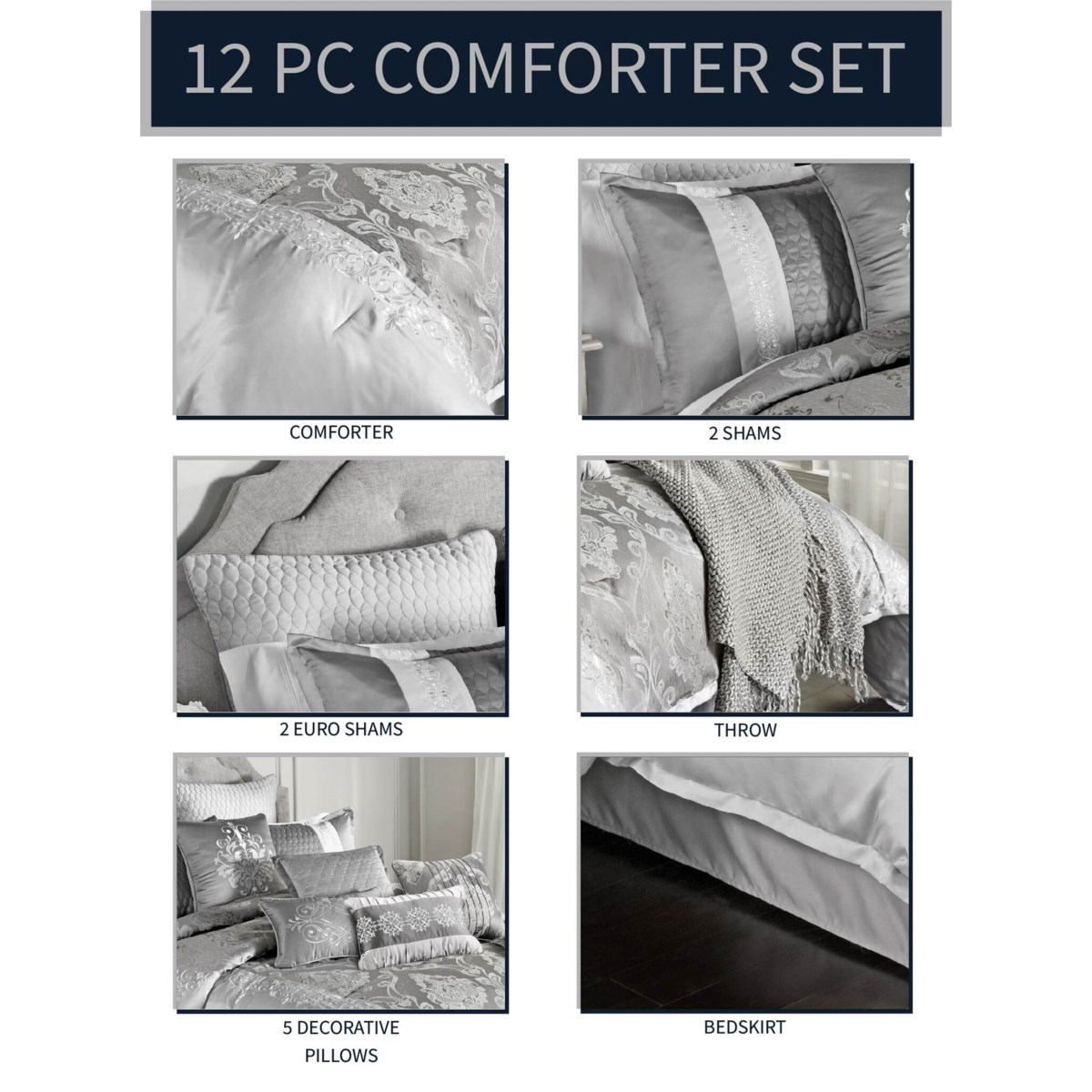Kadin 12 pc Queen Comforter Set