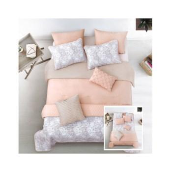 Kaylan Blush Taupe 8pc Full/Queen Layered Comforter & Coverlet Set