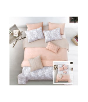 Kaylan Blush Taupe 6pc Twin Layered Comforter & Coverlet Set