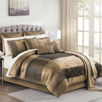 Keaton Rose Gold 10PC Queen Comforter Set