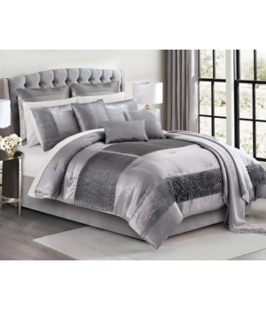 Keaton Silver 10PC Queen Comforter Set