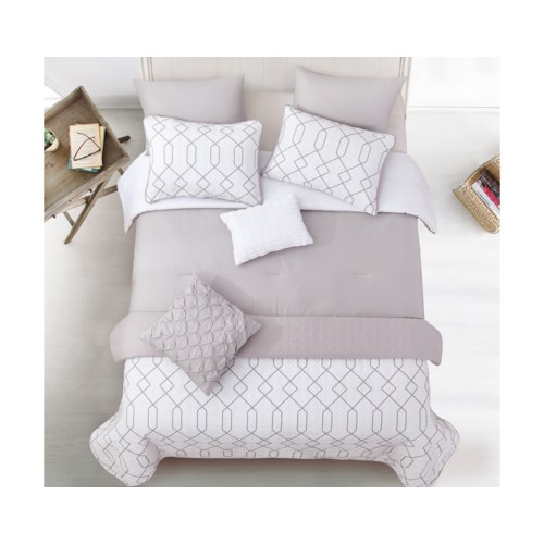 Kensil Gray White 8pc Full/Queen Layered Comforter & Coverlet Set