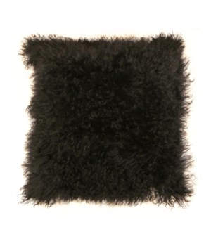 Mongolian Lamb Fur Pillow Black