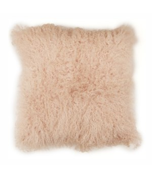 Mongolian Lamb Fur Pillow Blush