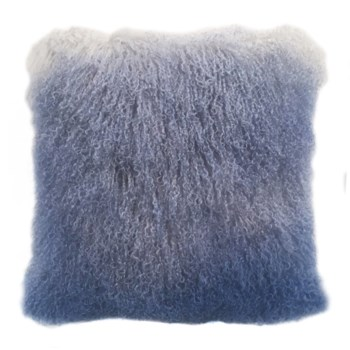 Mongolian Lamb Fur Cushion Cover Gray-Blue