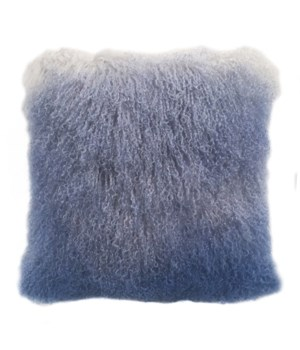 Mongolian Lamb Fur Cushion Cover Gray-Blue
