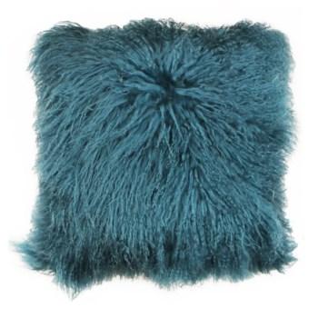 Mongolian Lamb Fur Pillow Teal