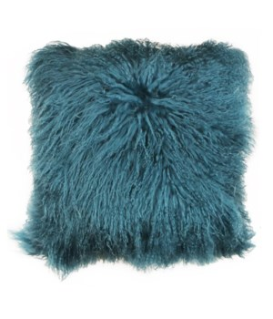 Mongolian Lamb Fur Pillow Teal