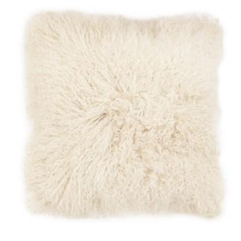 Mongolian Lamb Fur Cushion Cover White