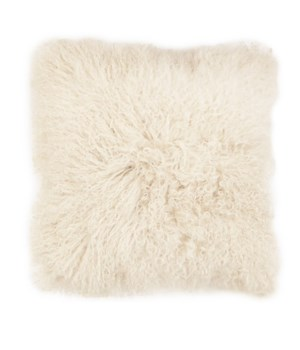 Mongolian Lamb Fur Cushion Cover White