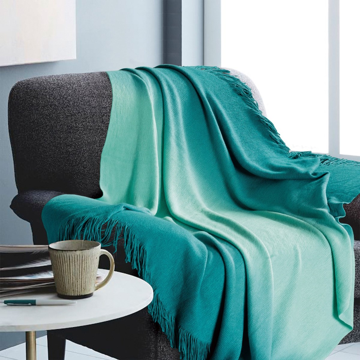 Ombre Teal Throw 50x60